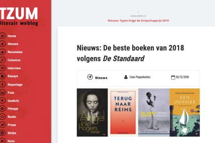 De beste boeken van 2018 volgens De Standaard, Coen Peppelenbos, Tzum, 29 december 2018