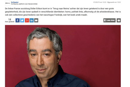 'Terug naar Reims': autobiografie over het leven van een homoseksuele arbeiderszoon, Frank Keizer, Knack/DeReactor, 7 maart 2019
