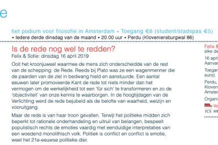 Is de rede nog wel te redden? Felix & Sofie: dinsdag 16 april 2019, Perdu, Amsterdam
