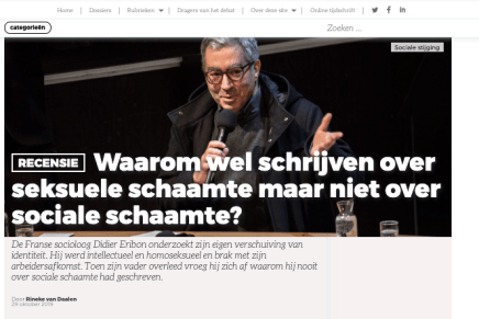 Waarom wel schrijven over seksuele schaamte maar niet over sociale schaamte?, Rineke van Daalen, Sociale Vraagstukken, 29 oktober 2019