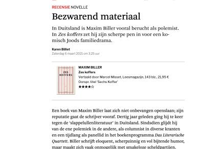 recensie Zes Koffers, Maxim Biller:  Bezwarend materiaal, Karen Billiet, De Standaard 6 maart 2021