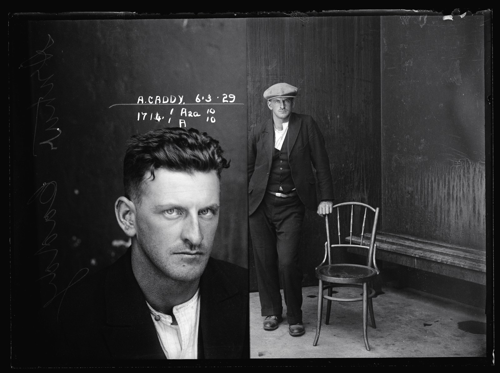 Image Credit:Arthur Caddy, 6 March 1929, Suspect, offence unknown, Special Photograph number 1714, NSW Police Forensic Photography Archive, Sydney Living Museums