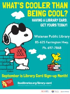 library card sign up - snoopy at Waianae