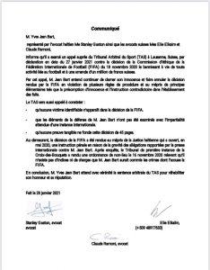 Haïti- Justice : Yves Jean-Bart fait appel auprès du TAS
