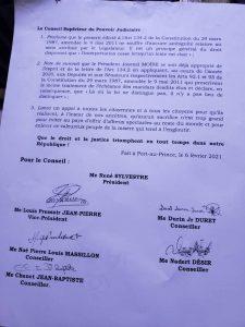 Haïti- Fin de mandat du président Jovenel Moïse : Le CSPJ a tranché