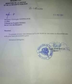 Haïti-Justice : Révocation d'un greffier au tribunal de la Croix-des-Bouquets