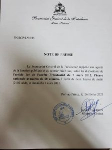 Haïti-Administration :  L'heure nationale sera changée ce 7 mars 2021