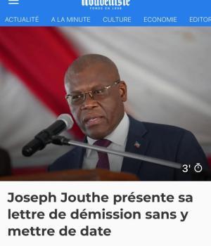 Haïti-Politique: Joseph Jouthe s'apprête à rendre son tablier