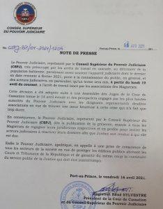 Haïti-Justice : Fin de la grève des Magistrats