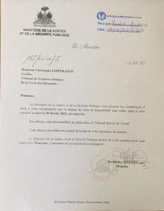 Haïti : Le Greffier Christophe Lespérance réintègre l'appareil judiciaire