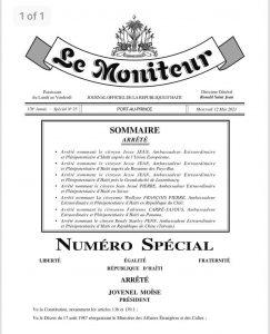 Haïti-Diplomatie : Le président Jovenel Moïse nomme 7 nouveaux ambassadeurs