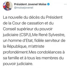 Haïti-Covid-19 : Me René Sylvestre, président de la Cour de Cassation est mort