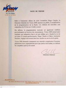 Haïti-Assassinat de Diego Charles : La Radio Vision 2000 modifie sa programmation et suspend ses éditions de nouvelles