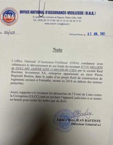 Haïti-Corruption : Une entreprise de Réginald Boulos détourne des fonds de l'ONA, condamne l'institution