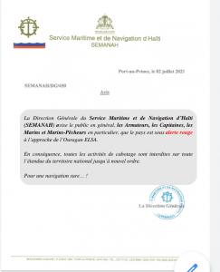 Ouragan Elsa : Alerte rouge sur Haïti , le SEMANAH interdit toutes les activités de cabotage