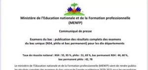 Haïti-Éducation : Le MENFP publie les résultats complets des examens du bac unique pour les 10 départements