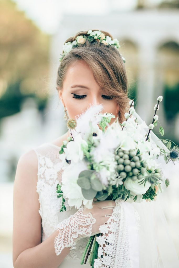 Photo of bride with bouquet at LeFay Cottage