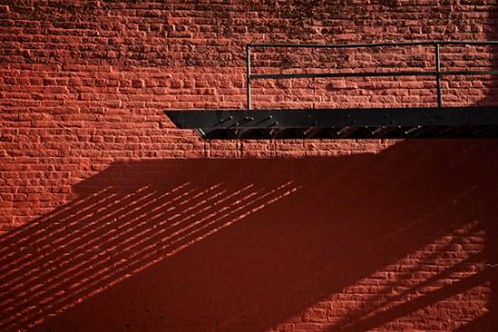 Fire escape and brick wall