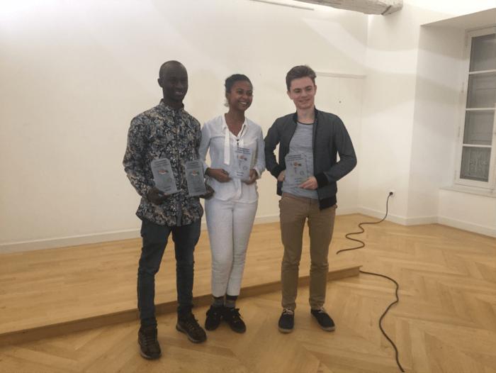 Sally Bilaly Sow, Mayline Meynard et Martin Delacoux, les trois lauréats présents à Bellerive-sur-Allier.