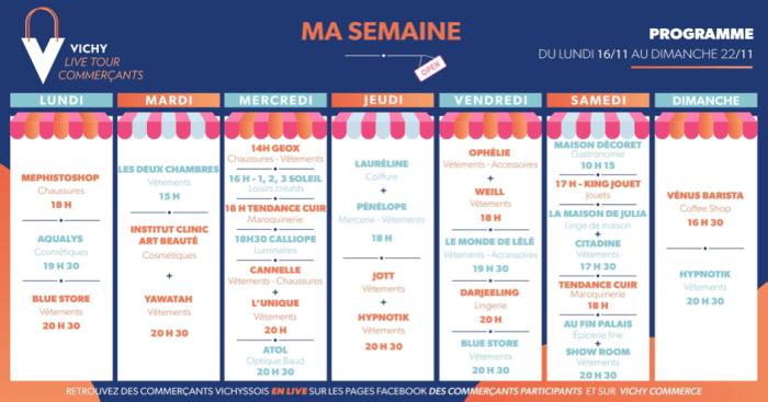 Un planning hebdomadaire, avec des horaires pour chaque commerçant vichyssois, pour promouvoir les magasins locaux. Illustration : Vichy Commerce