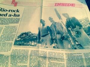 a-ha intervju fra Rio de Janeiro, slik det så ut på trykk i Tønsbergs Blad (faksimile fra avisen)