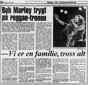 Bob Marley-anmeldelse og intervju i Dagbladet, 18. juni 1980.