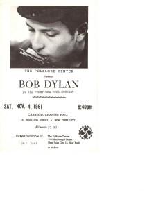Programmet som Izzy Young trykket til Dylans første New York-konsert. (Illustrasjon: Izzy Young)