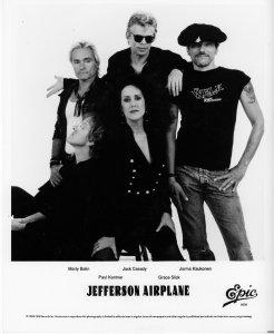 Etter 17 år har Jefferson Airplane i høst gjort comeback. (Bak fra venstre: Marty Balin, Jack Casady, Jorma Kaukonen. Foran: Paul Kanter og Grace Slick) (Foto: Epic Records)