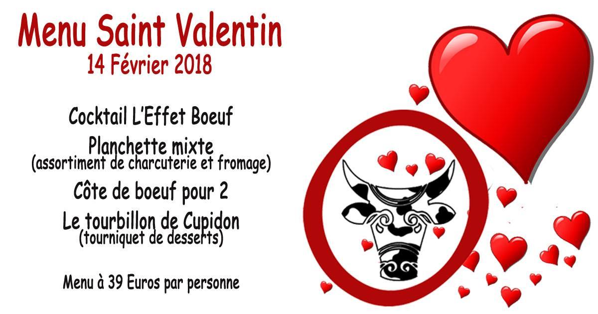 Menu spécial saint valentin à L'Effet Boeuf Douarnenez