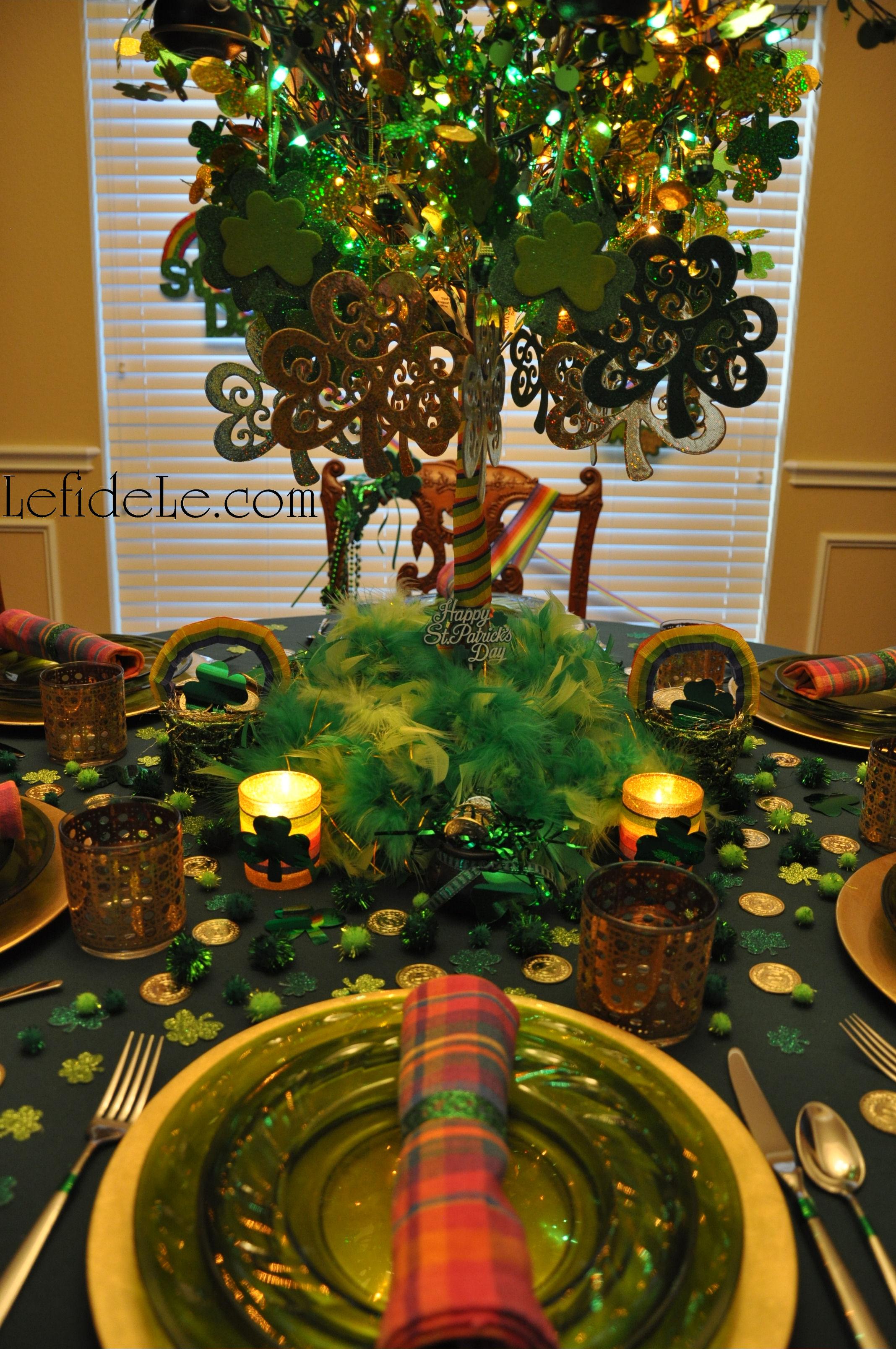 St. Patrick\'s Day Party Tablescape Décor Ideas Rainbows, Shamrocks ...
