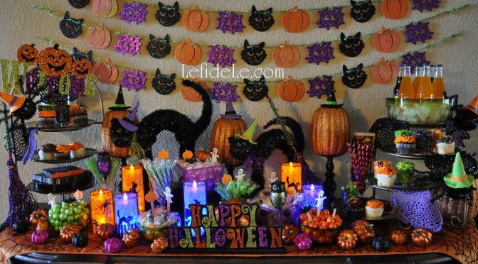 """Glitter-Ween"" Halloween Party Theme Decorating Ideas (With DIY Links)"
