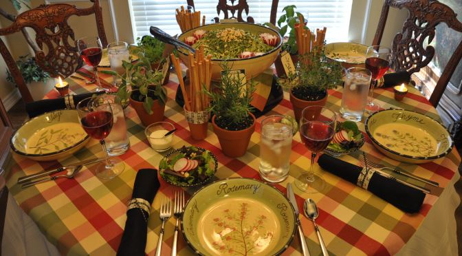 Fresh Herb Garden Luncheon Tablescape Décor Ideas (with Parsley Pesto Pasta Recipe & DIY + Printable Links)