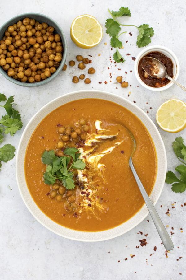 Soupe marocaine aux patates douces [vegan] [sans gluten] Le Flexitarien