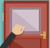 frapper à la porte