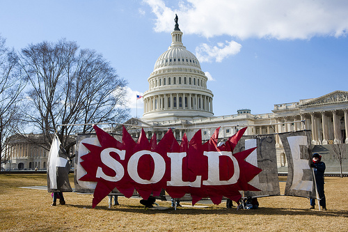 Activists rally for a constitutional amendment overturning the Citizens United Supreme Court decision