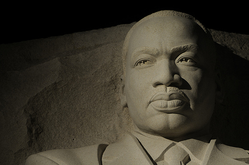 Martin Luther King Jr Memorial at night - photo by Scott Ableman