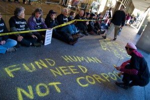 Health care reform protest at Blue Shield of California - photo by Steve Rhodes