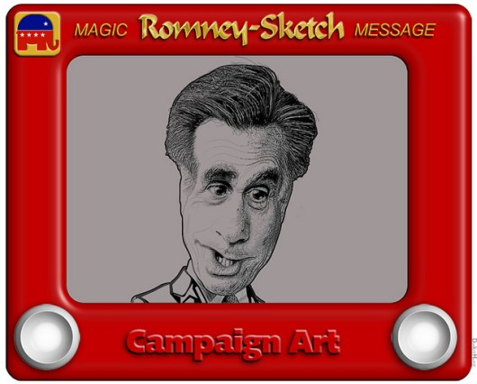 Romney-Sketch Cartoon - image by DonkeyHotey
