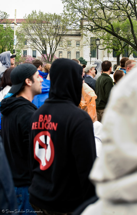 Many Bad Religion fans were in the audience.  Their logo certainly lent itself well to the day's message.