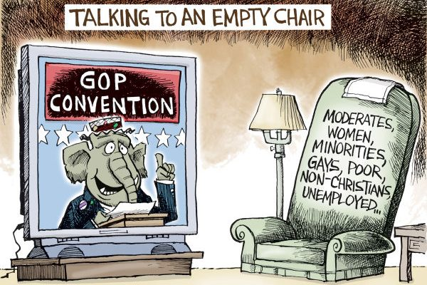 Talking To An Empty Chair - cartoon by Joe Heller