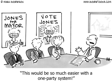 This would be so much easier with a one-party system. - political cartoon by Mark Anderson