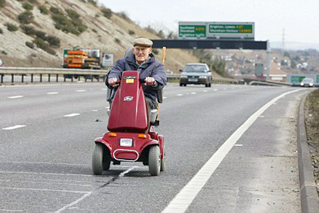 Senior on a scooter