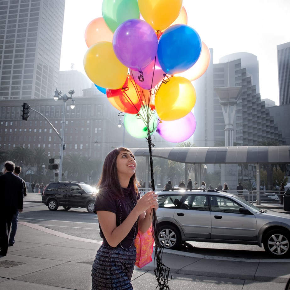 Balloons at the SF Ferry Building - photo by Braden Kowitz