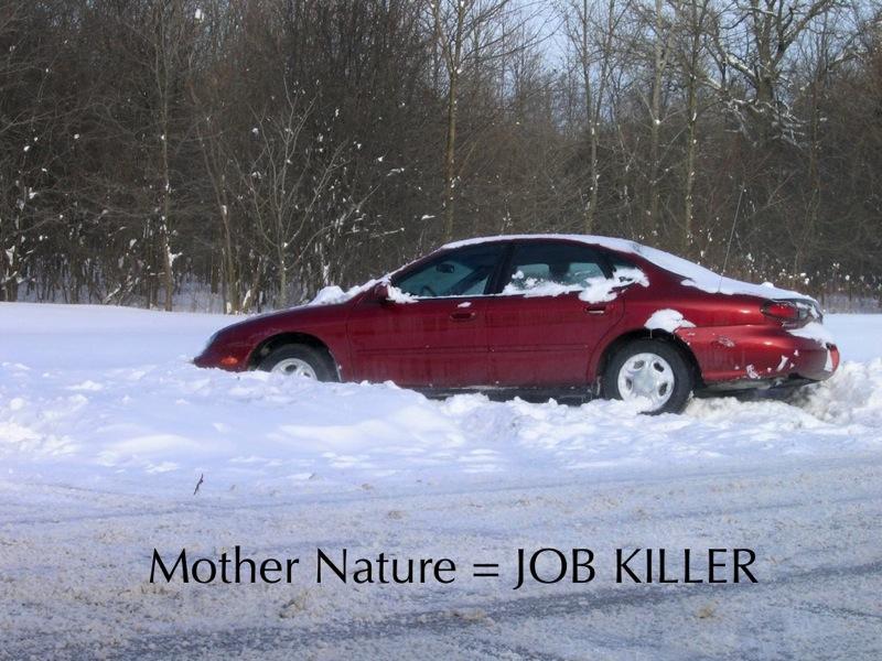 Car stuck snow