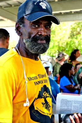 Mr. Jones, former prisoner and activist in solidarity, gears up before the rally.