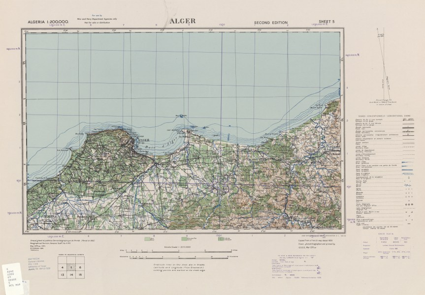 Algeria AMS Topographic Maps   Perry Casta    eda Map Collection   UT         Alger Sheet 5  1 200 000  6 9MB