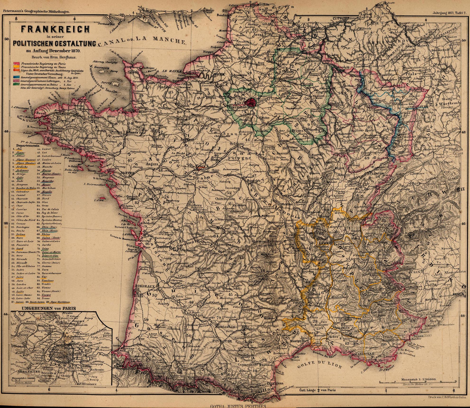 France Maps   Perry Casta    eda Map Collection   UT Library Online  301K   France 1870  Frankreich in