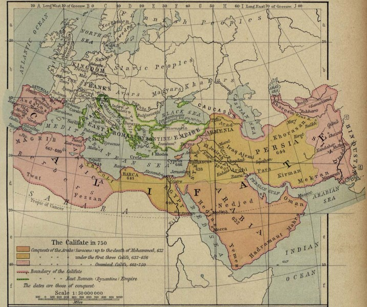 Middle East Historical Maps   Perry Casta    eda Map Collection   UT     Middle East and Europe   The Caliphate in 750