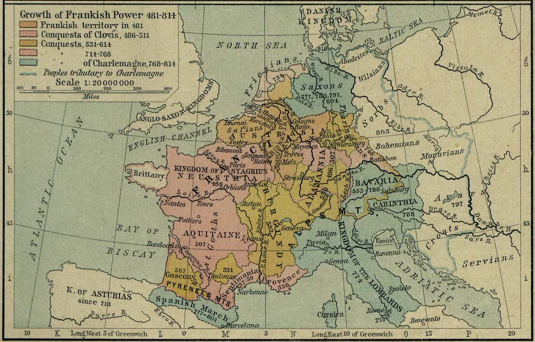 Europe Historical Maps   Perry Casta    eda Map Collection   UT Library     Europe   Growth of Frankish Power
