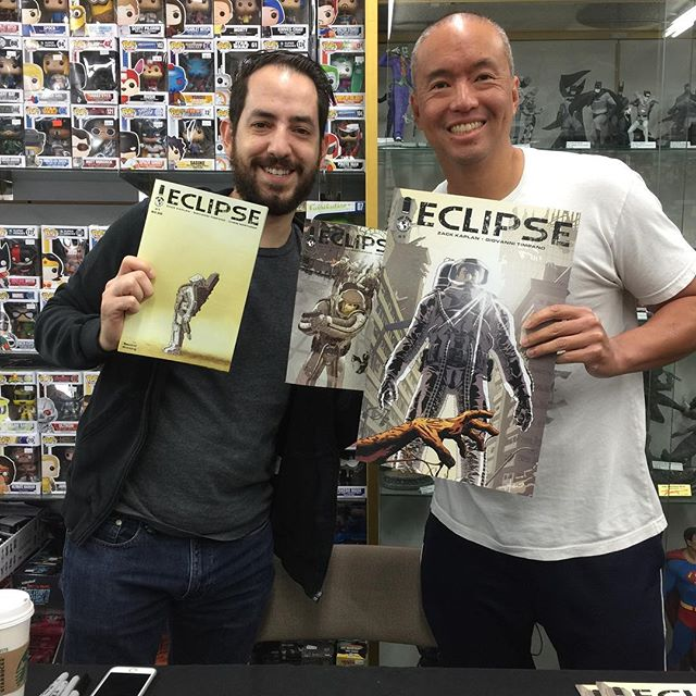 Zack Kaplan is here signing copies of his Image comic Eclipse!  Today only from 11-2pm #eclipsecomic #fearthesun @topcow @imagecomics @giotimpano